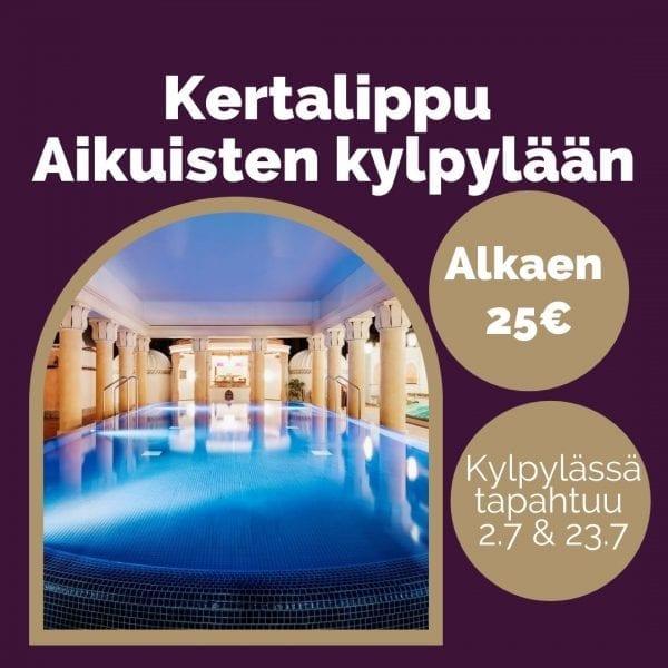 Kertalippu Flamingo Spa Aikuisten kylpylään, alkaen 25€. Kylpylän tapahtumaillat 2.7 & 23.7.
