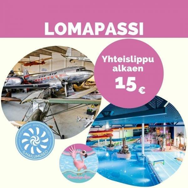 Yhdistelmälippu Flamingo Spa Kylpylään ja Ilmailumuseoon alkaen 15€.